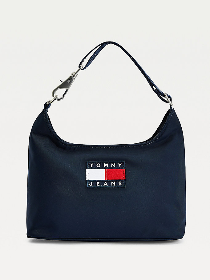 blue tommy badge shoulder bag for women tommy jeans
