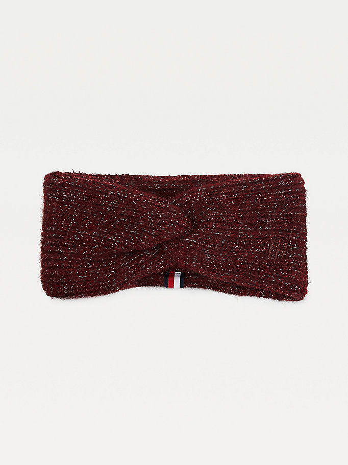 purple twist front knitted headband for women tommy hilfiger