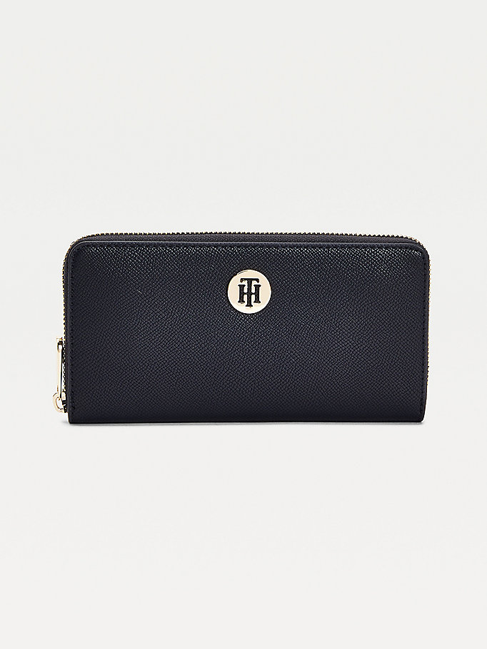 blue large zip-around wallet for women tommy hilfiger