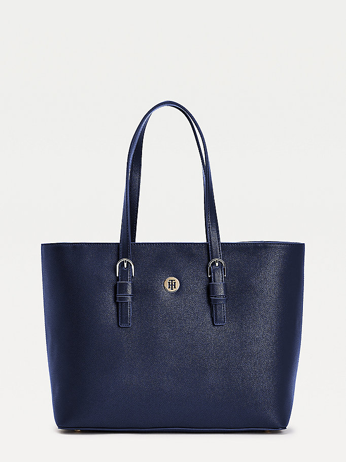 blue classic th plaque tote bag for women tommy hilfiger