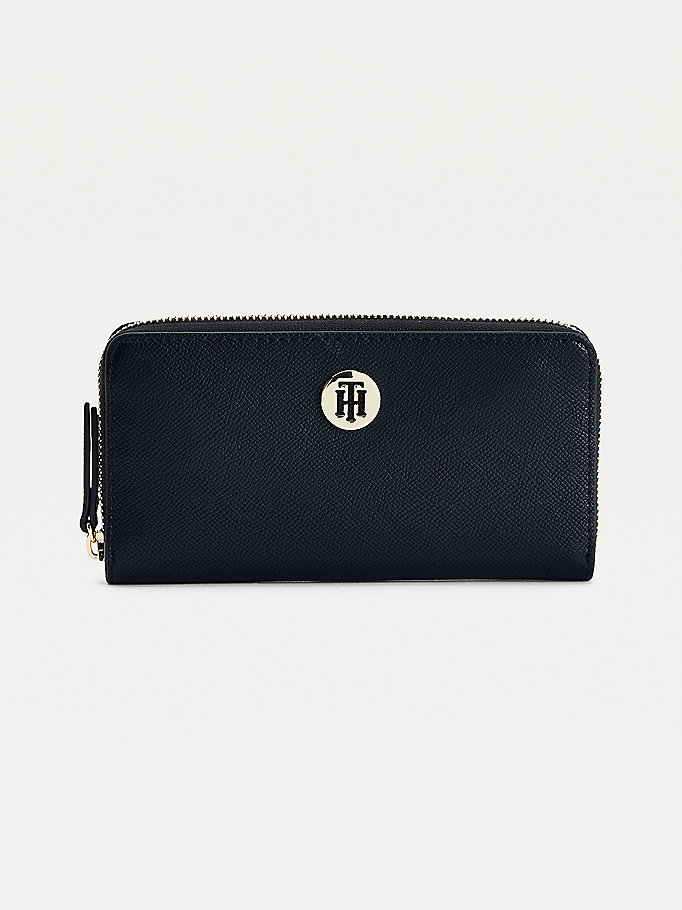 blue classics large zip-around monogram plaque wallet for women tommy hilfiger