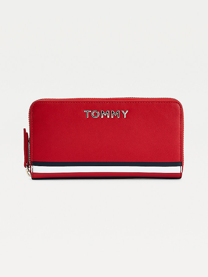 red signature tape large zip-around wallet for women tommy hilfiger