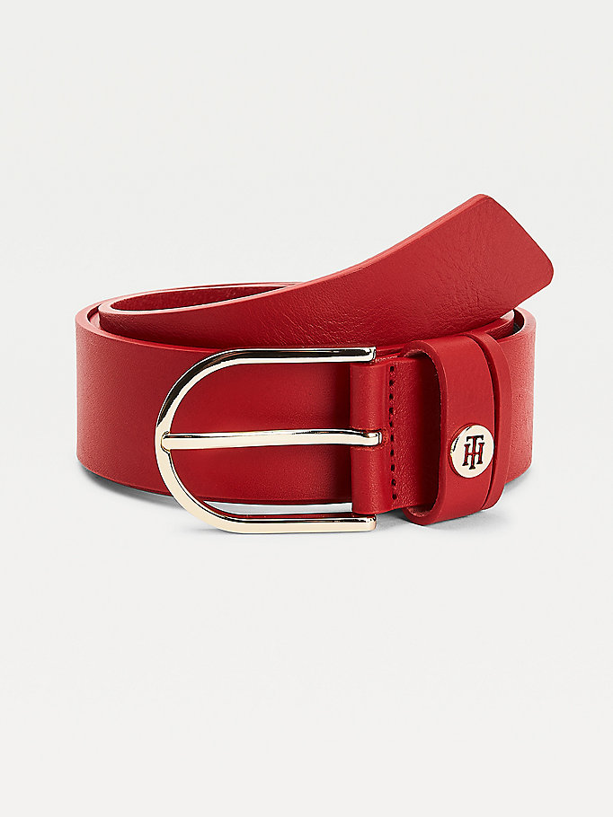 red classic leather belt for women tommy hilfiger