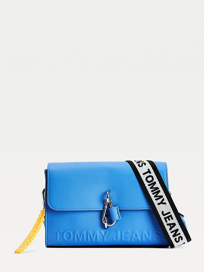 blue embossed logo crossover bag for women tommy jeans