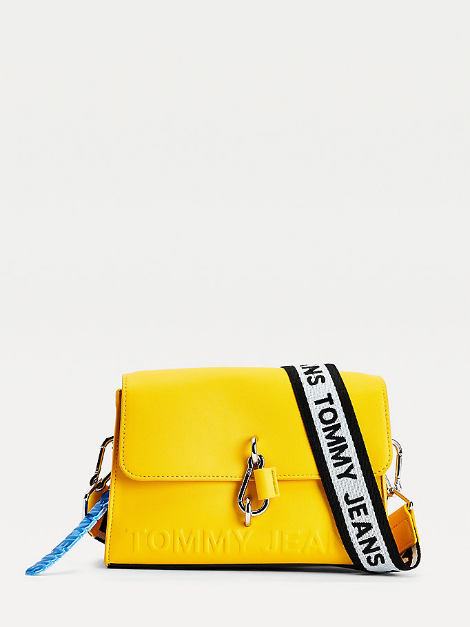 yellow embossed logo crossover bag for women tommy jeans
