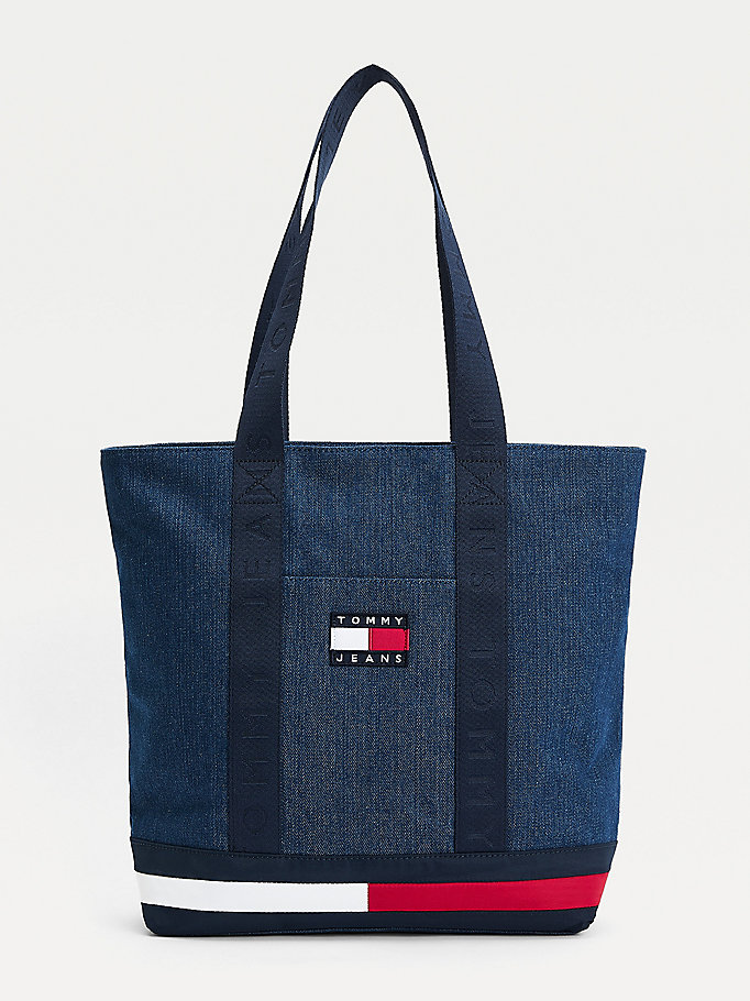 blue tommy badge denim tote bag for women tommy jeans