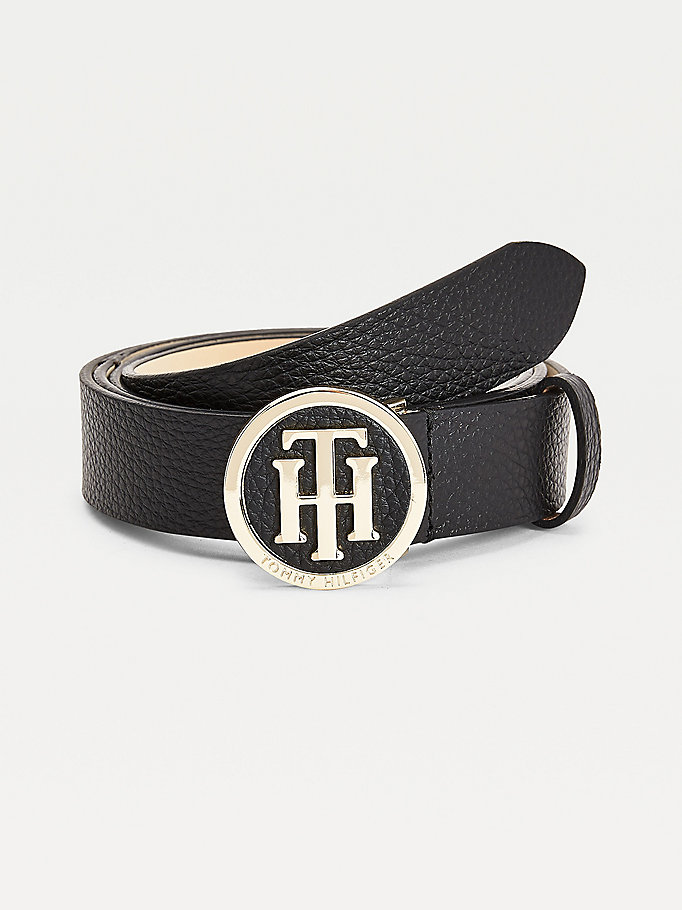 black curve monogram leather belt for women tommy hilfiger