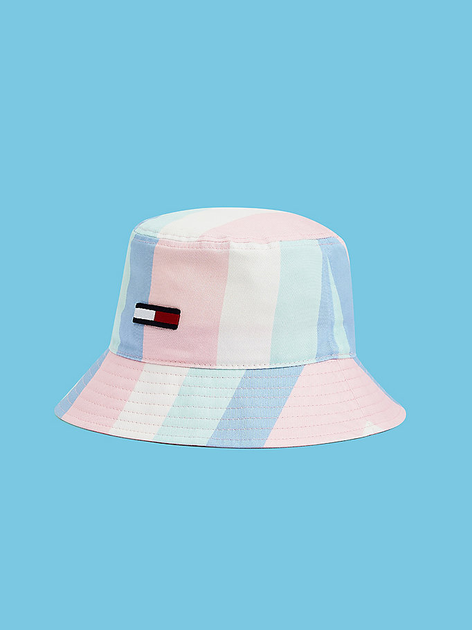 pink pastel stripe bucket hat for women tommy jeans