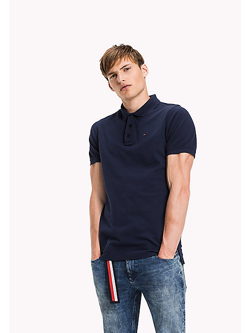 TOMMY JEANS Cotton Piqué Slim Fit Polo - BLACK IRIS - TOMMY JEANS Clothing - main image