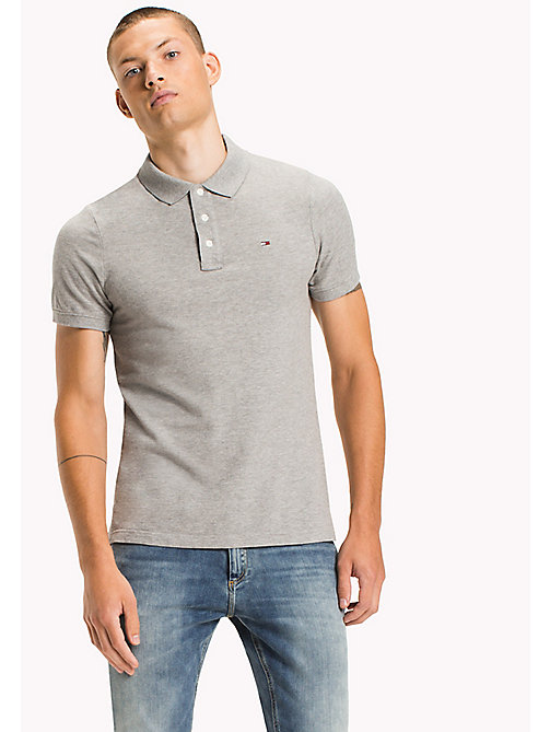TOMMY JEANS Cotton Piqué Slim Fit Polo - LT GREY HTR - TOMMY JEANS Clothing - main image