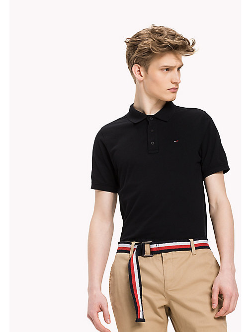 TOMMY JEANS Cotton Piqué Slim Fit Polo - TOMMY BLACK - TOMMY JEANS Clothing - main image
