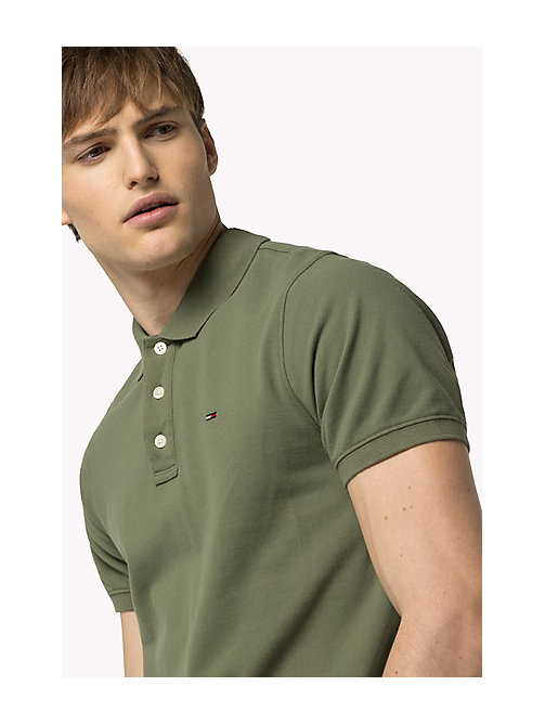 TOMMY JEANS Cotton Piqué Slim Fit Polo - FOUR LEAF CLOVER - TOMMY JEANS Clothing - main image