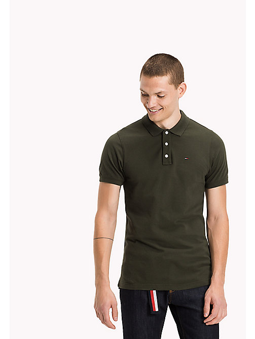 TOMMY JEANS Cotton Piqué Slim Fit Polo - FOREST NIGHT? - TOMMY JEANS Clothing - main image
