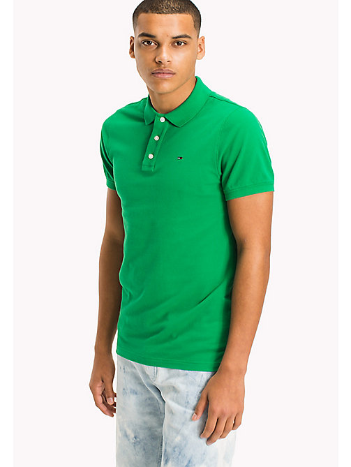 TOMMY JEANS Cotton Piqué Slim Fit Polo - JELLY BEAN - TOMMY JEANS Clothing - main image