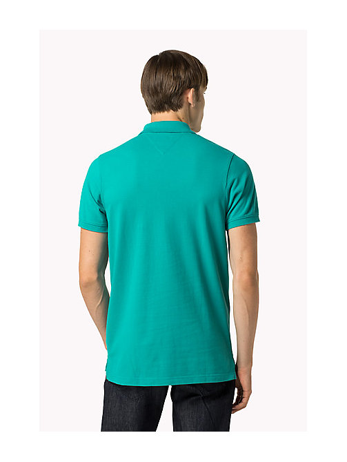 TOMMY JEANS Cotton Piqué Slim Fit Polo - VIRIDIAN GREEN - TOMMY JEANS Clothing - detail image 1