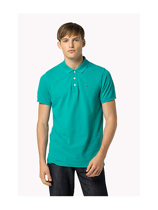 TOMMY JEANS Cotton Piqué Slim Fit Polo - VIRIDIAN GREEN - TOMMY JEANS Clothing - main image