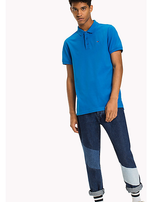 TOMMY JEANS Cotton Piqué Slim Fit Polo - INDIGO BUNTING - TOMMY JEANS Polo Shirts - main image