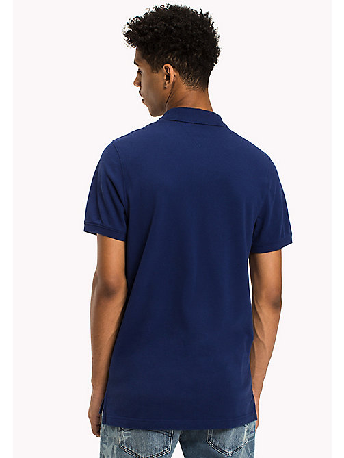 TOMMY JEANS Cotton Piqué Slim Fit Polo - BLUE DEPTHS - TOMMY JEANS Polo Shirts - detail image 1