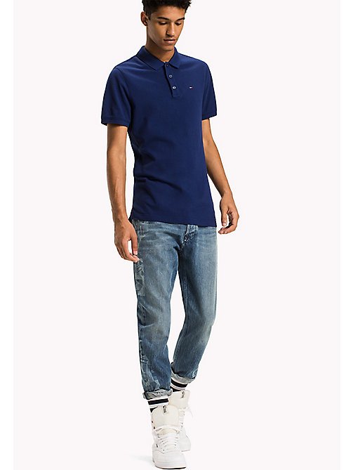 TOMMY JEANS Cotton Piqué Slim Fit Polo - BLUE DEPTHS - TOMMY JEANS Polo Shirts - main image