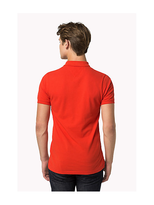 TOMMY JEANS Cotton Piqué Slim Fit Polo - HIGH RISK RED - TOMMY JEANS Clothing - detail image 1