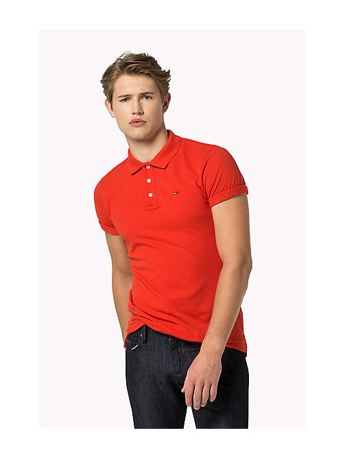 TOMMY JEANS Cotton Piqué Slim Fit Polo - HIGH RISK RED - TOMMY JEANS Clothing - main image