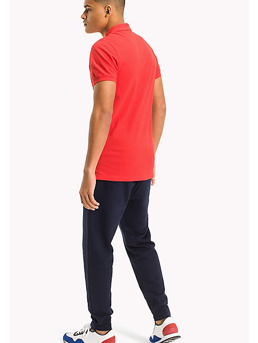 TOMMY JEANS Cotton Piqué Slim Fit Polo - RACING RED - TOMMY JEANS Clothing - detail image 1