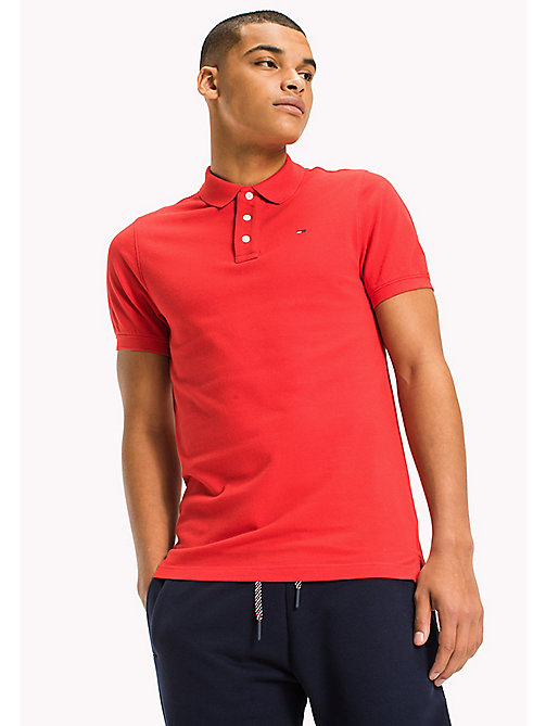 TOMMY JEANS Cotton Piqué Slim Fit Polo - RACING RED - TOMMY JEANS Clothing - main image