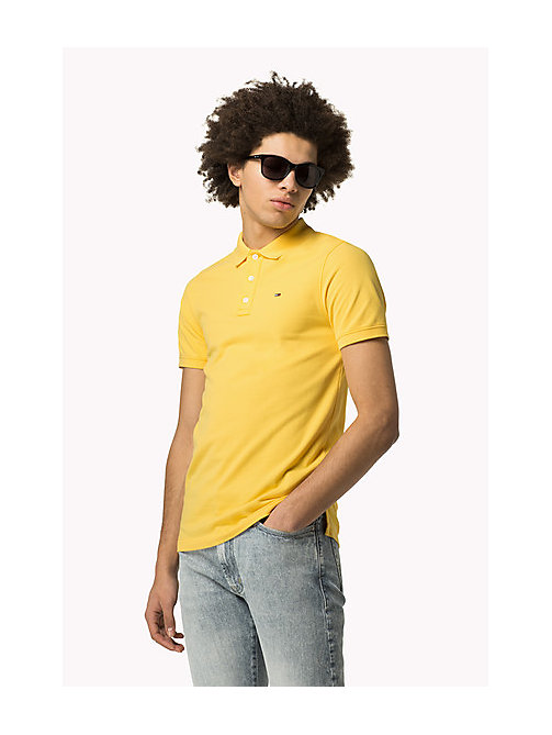 TOMMY JEANS Cotton Piqué Slim Fit Polo - MIMOSA - TOMMY JEANS Clothing - main image