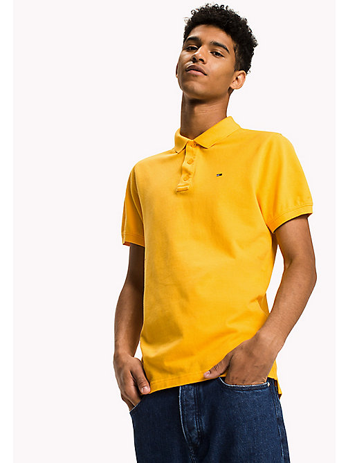 TOMMY JEANS Cotton Piqué Slim Fit Polo - ARTISANS GOLD - TOMMY JEANS Polo Shirts - main image