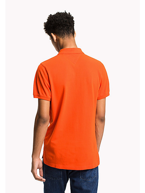 TOMMY JEANS Cotton Piqué Slim Fit Polo - SPICY ORANGE - TOMMY JEANS Polo Shirts - detail image 1