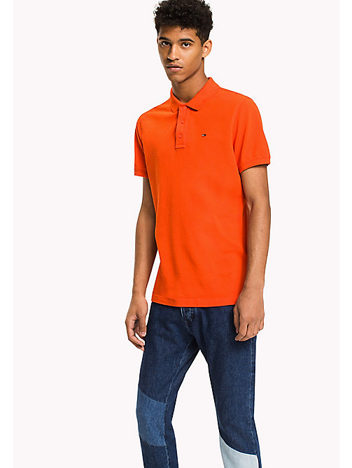 TOMMY JEANS Cotton Piqué Slim Fit Polo - SPICY ORANGE - TOMMY JEANS Polo Shirts - main image