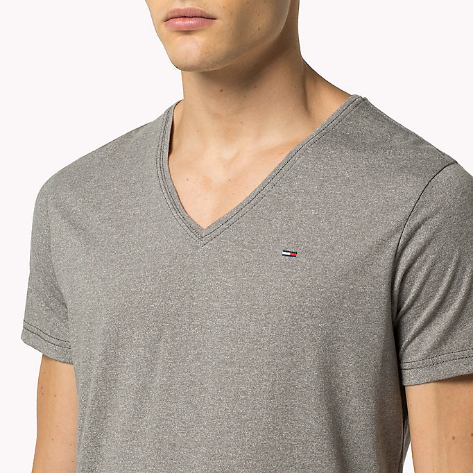 TOMMY JEANS Jersey V-Neck T-Shirt - SEA SPRAY - TOMMY JEANS Men - detail image 2
