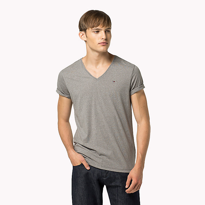 TOMMY JEANS Jersey V-Neck T-Shirt - SEA SPRAY - TOMMY JEANS Clothing - main image