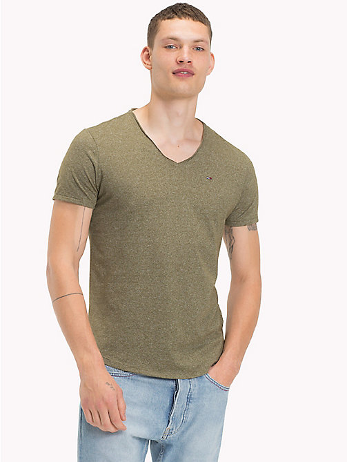 TOMMY JEANS Jersey V-Neck T-Shirt - DEEP LICHEN - TOMMY JEANS Clothing - main image