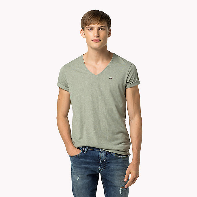 TOMMY JEANS Jersey V-Neck T-Shirt - HIGH RISK RED - TOMMY JEANS Men - main image