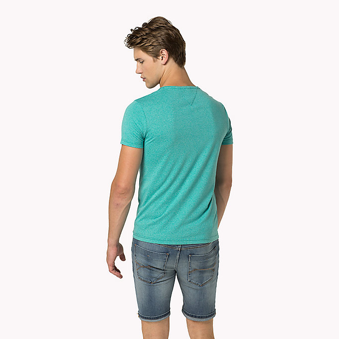 TOMMY JEANS T -shirt collo a V in jersey - MAUI BLUE - TOMMY JEANS Uomini - dettaglio immagine 1