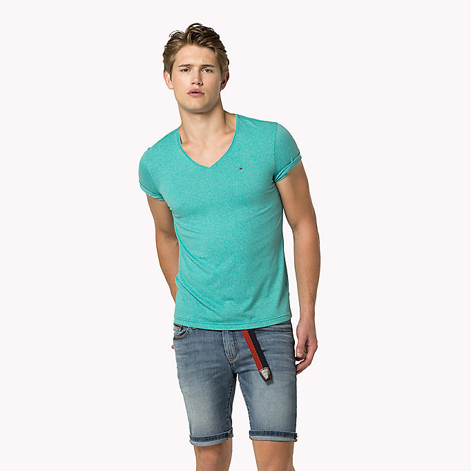TOMMY JEANS Jersey V-Neck T-Shirt - MAUI BLUE - TOMMY JEANS Clothing - main image