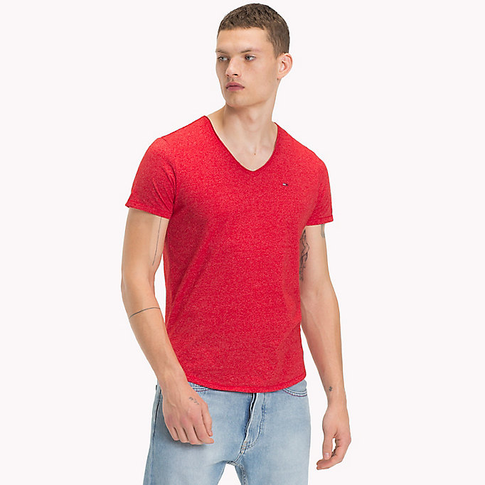 TOMMY JEANS Jersey V-Neck T-Shirt - BRIGHT COBALT - TOMMY JEANS Clothing - main image