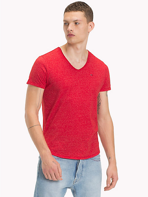 TOMMY JEANS Jersey V-Neck T-Shirt - RACING RED - TOMMY JEANS Clothing - main image