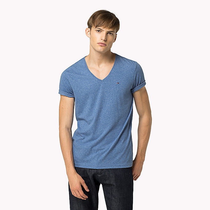 TOMMY JEANS Jersey V-Neck T-Shirt - BLACK IRIS - TOMMY JEANS Men - main image