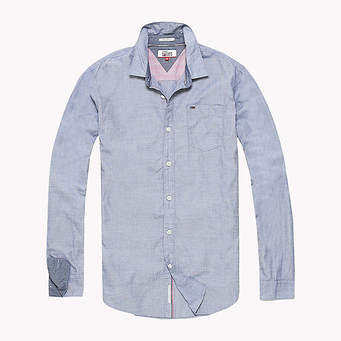 TOMMY JEANS Cotton Regular Fit Shirt - SLEET - TOMMY JEANS Clothing - detail image 1