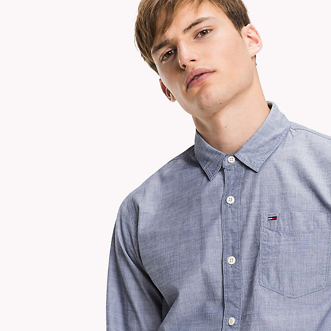 TOMMY JEANS Cotton Regular Fit Shirt - SLEET - TOMMY JEANS Clothing - detail image 3