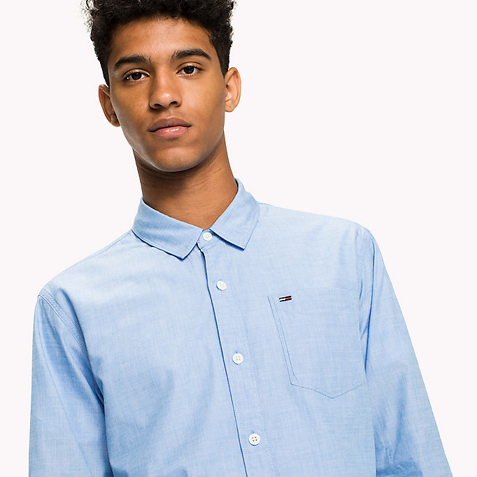 TOMMY JEANS Cotton Regular Fit Shirt - JELLY BEAN - TOMMY JEANS Clothing - detail image 3