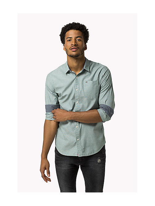 TOMMY JEANS Cotton Regular Fit Shirt - BLUE SPRUCE - TOMMY JEANS MEN - detail image 1