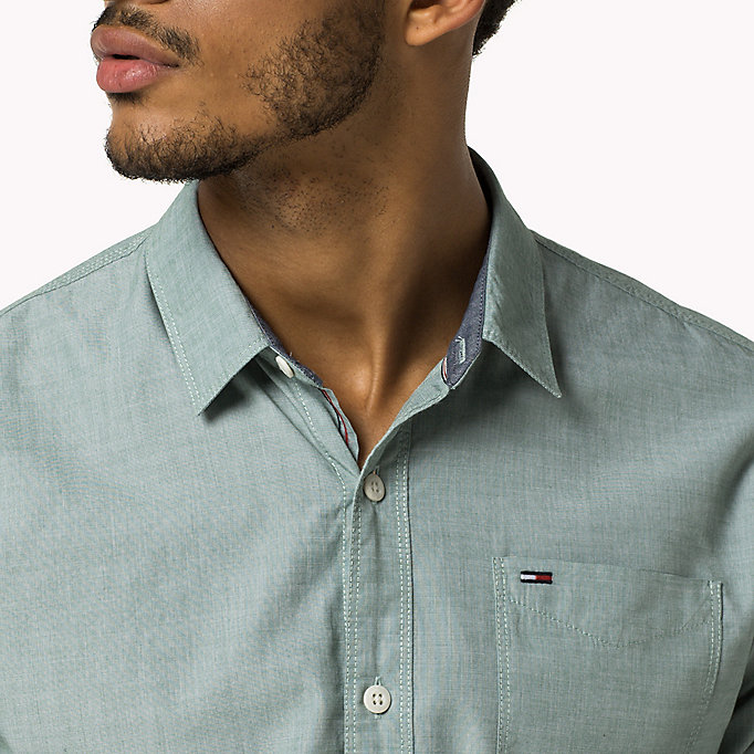 TOMMY JEANS Cotton Regular Fit Shirt - CAMEO BLUE - TOMMY JEANS Men - detail image 3