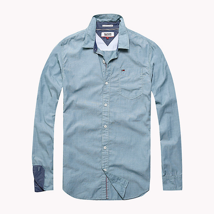 TOMMY JEANS Cotton Regular Fit Shirt - CAMEO BLUE - TOMMY JEANS Men - main image