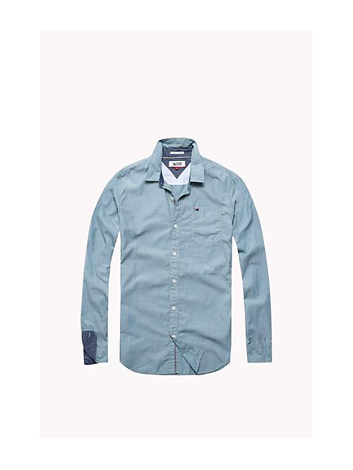 TOMMY JEANS Cotton Regular Fit Shirt - BLUE SPRUCE - TOMMY JEANS MEN - main image