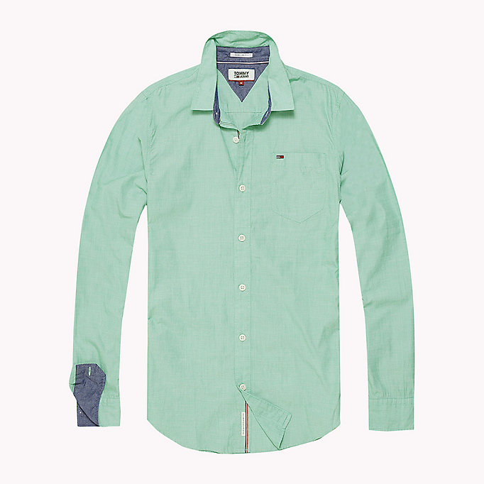 TOMMY JEANS Cotton Regular Fit Shirt - BLUE SPRUCE - TOMMY JEANS Clothing - detail image 1