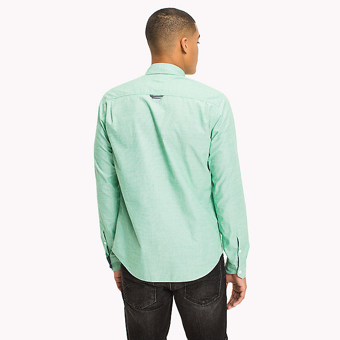 TOMMY JEANS Cotton Regular Fit Shirt - BLUE SPRUCE - TOMMY JEANS Clothing - detail image 2