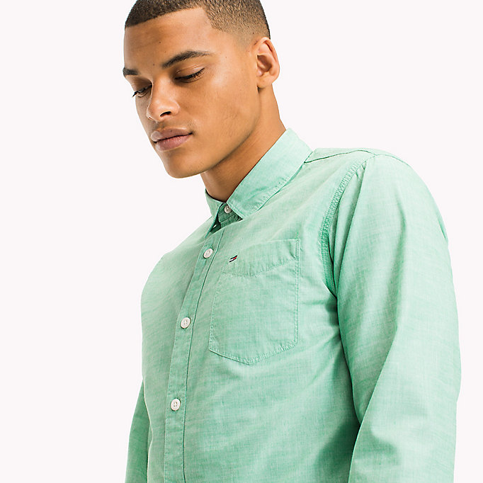 TOMMY JEANS Cotton Regular Fit Shirt - BLUE SPRUCE - TOMMY JEANS Men - detail image 3